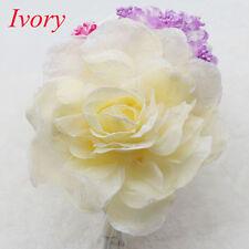 NEW 15CM Corsage Hairband Wrist Flower Wedding Party Prom Ivory Rose Headdress