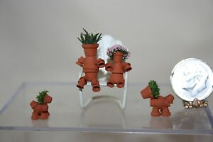 Miniature Dollhouse 1:48 Metal Chair w Flower Pot People & Dogs 4 Garden or
