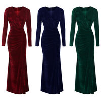 Women's Long Sleeve V-neck Velvet Maxi Bodycon Party Evening Cocktail Sexy Dress