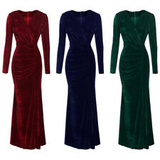 Luxury Womens Long Sleeve Velvet Cocktail Dress Ladies Party Evening Maxi Dress