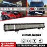 23 inch CREE LED Light Bar Tri Row Spot Flood 4x4 Jeep Car Driving Lamp 12V 24V