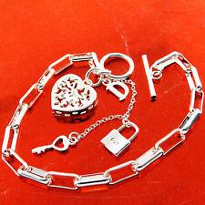 Bracelet Bangle Real 925 Sterling Silver SF Tbar Heart Padlock Key Charm Design
