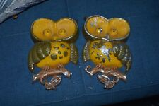 Two Vintage CAST METAL Sexton Owl Figurines  Wall Hanging Decor USA,1970