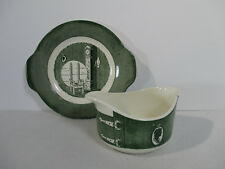 Colonial Homestead Royal China Gravy Boat Underplate Green Clock Vintage 2pc