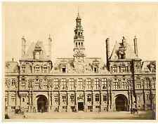 Paris, hôtel de ville  Vintage albumen print  Tirage albuminé  21x27  1880