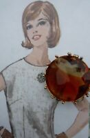 Vintage Gift Mothers Day Jewellery Brooch Glass Amber Citrine Faceted Circle