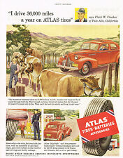 Vintage 1952 Magazine Ad Atlas Tires Grip-Safe And Low Pressure Cushinaire Tires