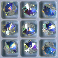 5PCS Snowflake Flower Faceted Glass Crystal Clear Beads DIY Jewelry Making Acces