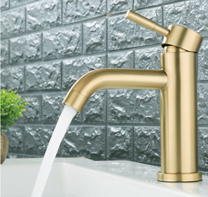 SUS 304 Bathroom Basin Sink Mixer Taps Hot and Cold Faucet Brushed Gold or Black