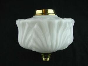 MOULDED WHITE GLASS OIL LAMP FONT, ART NOUVEAU DECORATION, 23mm UNDERMOUNT