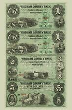 Brattleboro, Vermont - Windham County Bank $1-$1-$2-$5 Uncut Sheet COPY