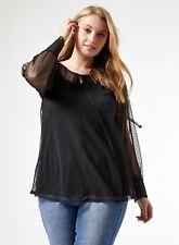 Dorothy Perkins Womens Curve Black Dobby Mesh Blouse Long Sleeve Tunic Top