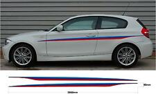 2x Auto Decalcomania Grafica righe laterali BMW M Sport 1 Serie E87 E88 F20 F21 E81 E82
