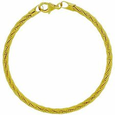 Toc Goldtone Argento Sterling 9.8gr Twisted Design Braccialetto 7.5""