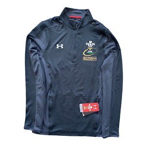 Wales Rugby 1/4 Zip Men's Under Armour Grand Slam 2019 Top - Black - New
