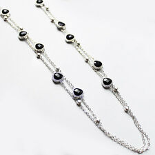 Long Silver Double Strand Black Crystal Necklace
