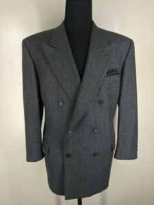Valentino Vintage Made In Italy Double Breasted Wool  Suit No Vents Fit 44 Reg