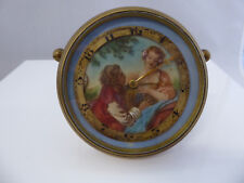 Small Antique Painted Painting Face Clock Signed