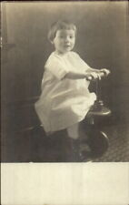 Child Children's Toy Wooden Tricycle c1910 Real Photo Postcard rpx