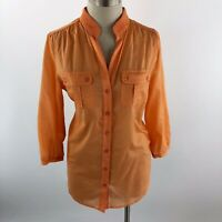 Chico's Womens Size 0 Button Down Shirt Top Orange Sheer 100% Cotton 3/4 Sleeve