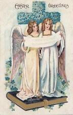 Antique EASTER POSTCARD c1907-20 Angels Singing Book Floral Cross Emb. 19229