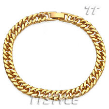 TTstyle 6mm 18K Gold Filled Curb Link Chain Bracelet