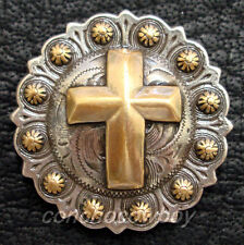 """WESTERN HORSE SADDLE TACK ANTIQUE GOLD CROSS BERRY CONCHO 1-1/4"""" SCREW BACK"""
