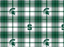 College Michigan State University Spartans Plaid MSU 812 Fleece Fabric Print