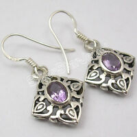 925 Sterling Silver Natural FACETED AMETHYST HANDCRAFTED Dangle Earrings 1.3""