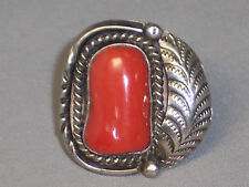 VINTAGE WIDE SOUTHWESTERN STERLING SILVER CORAL RING WITH FEATHER - SIZE 8.75