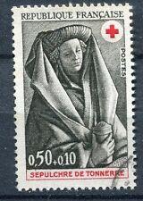 FRANCE TIMBRE OBL N° 1780 SEPULTURE DE TONNERRE FEMME VASE AROMATES CROIX ROUGE