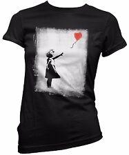 "T-SHIRT DONNA ""Banksy - Balloon Girl"" - maglietta 100% cotone Nero"