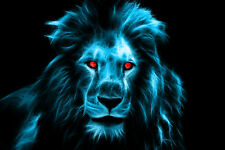 """Lion King Red Eyes Electric Blue Face Africa - 17"""" x 22"""" Fine Art Print - 00014"""