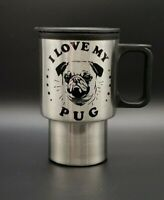 "New Stainless Travel Coffee Mug With Decal ""I Love My Pug"" Customised 390ml"