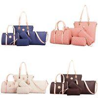 6Pcs/Set Faux Leather Bags Sets Women Handbag Tote Fish Bone Print Shoulder Bag