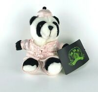 """Shanghai Tang New w Tags Stuffed Panda 6.5"""" Bear Pink Silk Chinese Outfit Auth"""