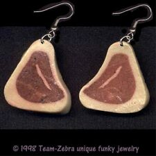 Funky Weird BBQ MEAT EARRINGS T-Bone Steak Food Charm Meat Lover Costume Jewelry