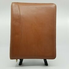 Vintage Franklin Quest 7 Ring Planner Zip Around Brown Full Grain Nappa Leather