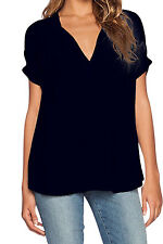 Black Short Sleeve Collar V neck High Low Top Casual Work Shirt Blouse 25789 M