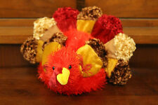 "Sweet Adorable Dan Dee Plush Stuffed Thanksgiving Turkey Sparkle Brown Red 7"""