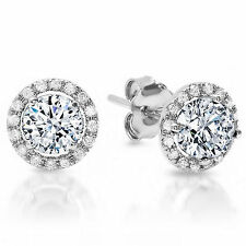 1.55 CT Simulated Round CUT SOLITAIRE HALO STUD EARRINGS 14K WHITE GOLD