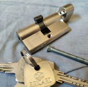 Serrure Bricard Cylindre à Bouton Serial Nickelé - Bouton côté + 4 clés