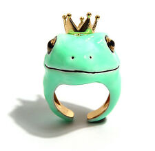 Fashion Enamel Love Story Frog Prince Gold plated Open Finger Ring #H