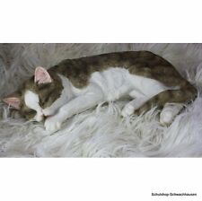 Gartenfigur Katze grau 9015b schlafend liegend Haus Garten lebensecht Figur
