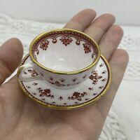 VINTAGE Spode Miniature Tea Cup & Saucer Fleur De Lys Red Collectable Bone China