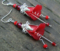 Flower Earrings Red Tulip Cala Lily Silver Dangle Earrings USA Handmade