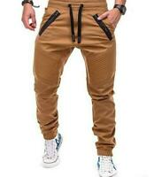 Men's Straight Leg Casual Pencil Jogger Cargo Pants Trousers Overalls Slim Fit