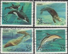USA 1990 MARINE MAMMALS, Killer Whale, Dolphin,Otter, Sea Lion (4) Used SG2542-5
