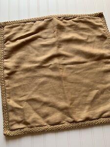 Pottery Barn Pillow Cover Tan Linen Jute Trim 20 x 20