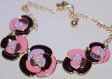 """Kate Spade """"DECO BLOSSOM"""" collar rose pink violet flower bloom enamel Necklace"""